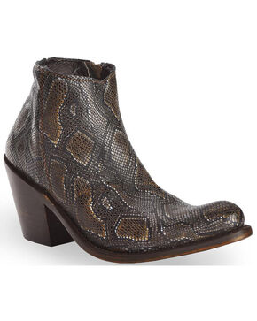 Liberty Black Women's Breton Snake Print Booties - Medium Toe, Dark Brown, hi-res