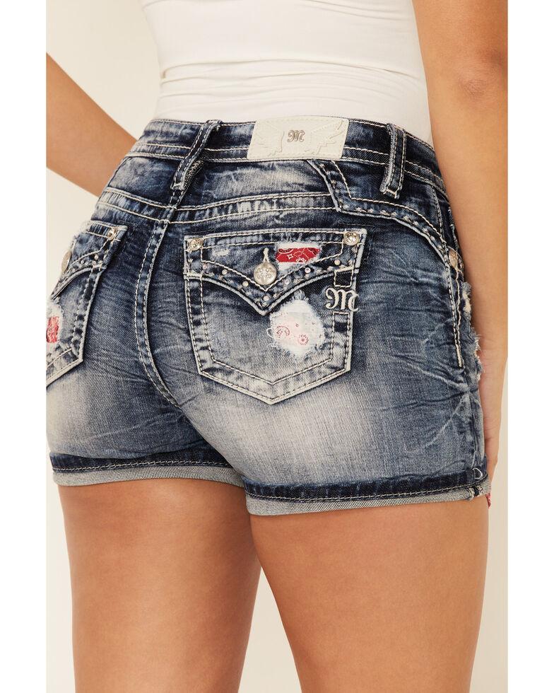 Miss Me Women's Exposed Bandana Pocket Short Shorts, Blue, hi-res