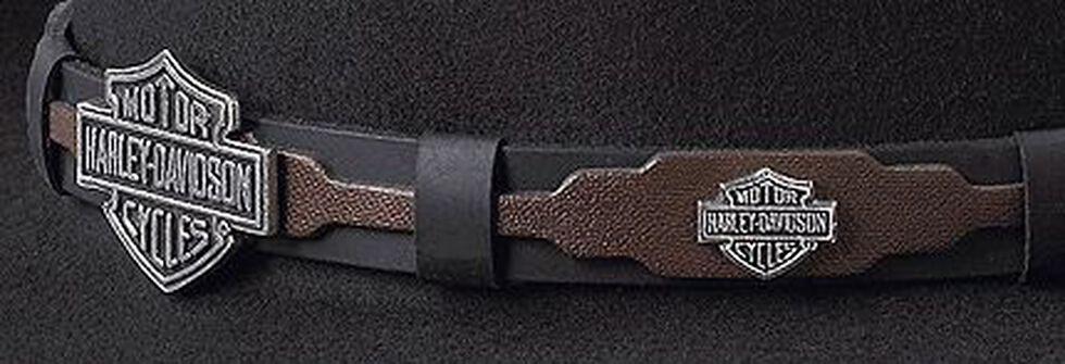 Harley Davidson Leather Overlay & Concho Wool Felt Crushable Cowboy Hat, Black, hi-res