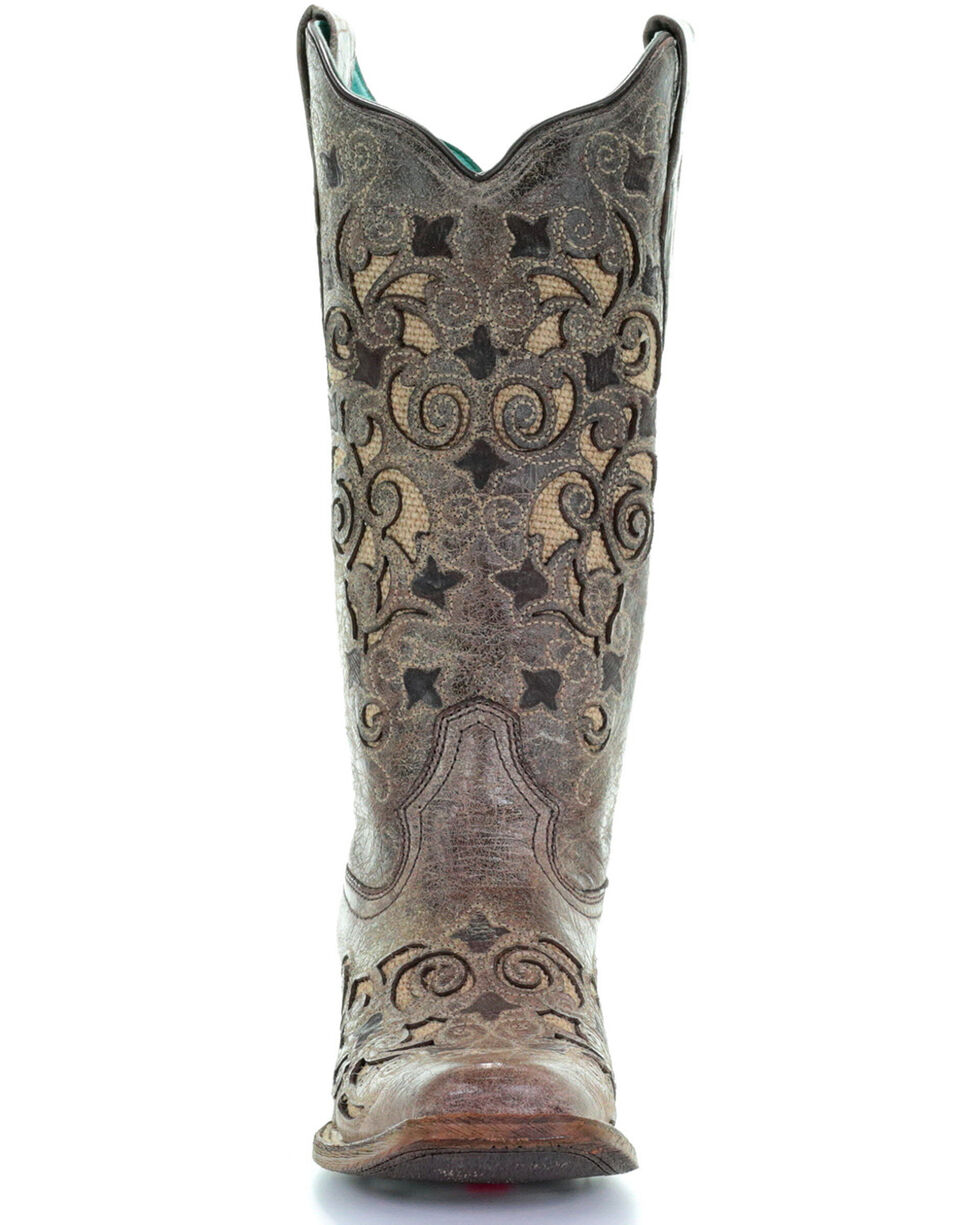 Corral Women's Jute Inlay Cowgirl Boots - Square Toe, Sand, hi-res