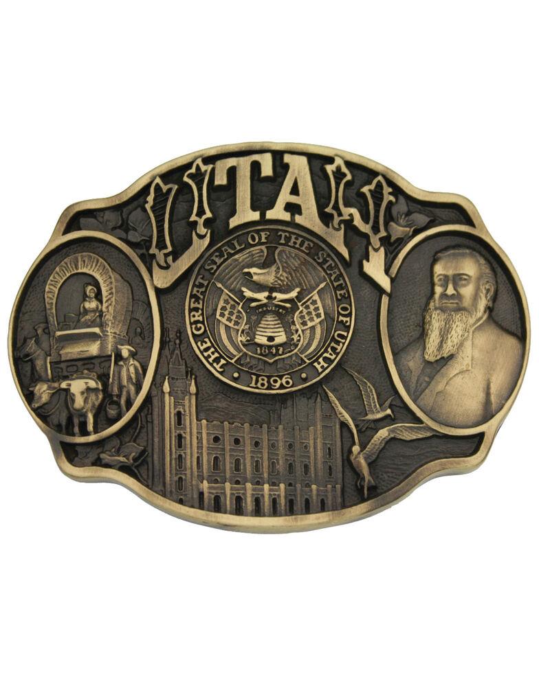 Montana Silversmiths Utah State Heritage Attitude Belt Buckle, Gold, hi-res