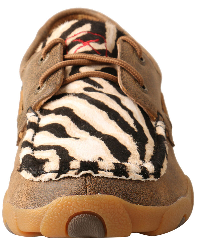 Twisted X Women's Zebra Hair On Hide Boat Shoes, Brown, hi-res