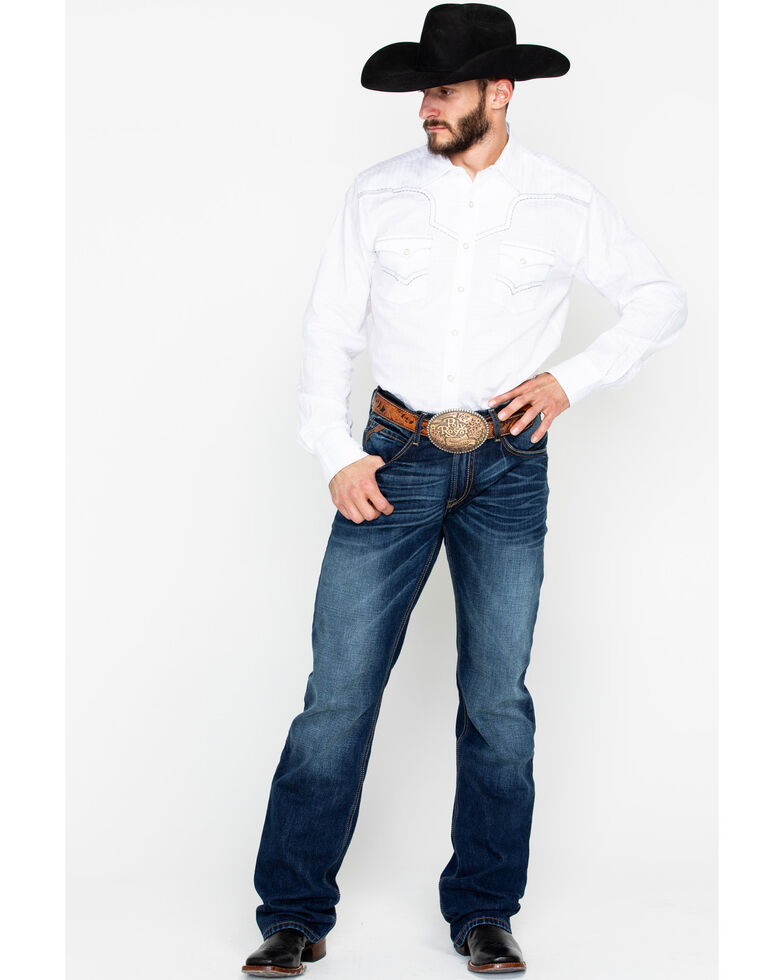 Rock 47 by Wrangler Men's White Long Sleeve Western Shirt, White, hi-res