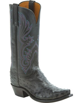 Lucchese Women's Handmade Dolly Full Quill Ostrich Western Boots - Snip Toe, Black, hi-res
