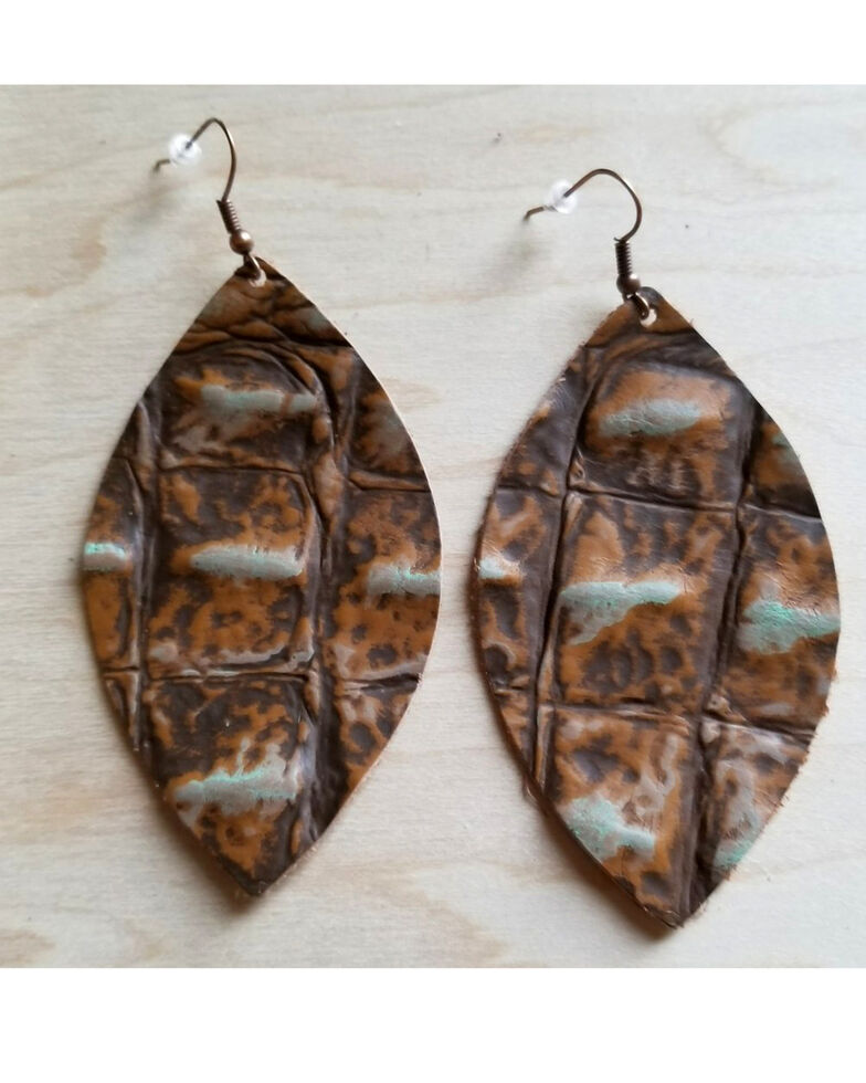 Jewelry Junkie Women's Saddle Brown Oval Leather Earrings, Brown, hi-res