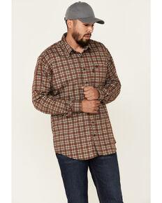 Cinch Men's FR Brown Plaid Lightweight Long Sleeve Work Shirt , Brown, hi-res