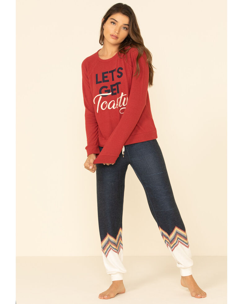 PJ Salvage Women's Brick Lets Get Toasty Graphic Long Sleeve Top, Red, hi-res