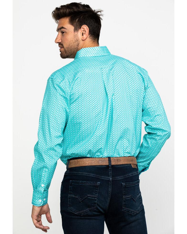 Rough Stock by Panhandle Men's Lyman Vintage Print Long Sleeve Western Shirt , Turquoise, hi-res