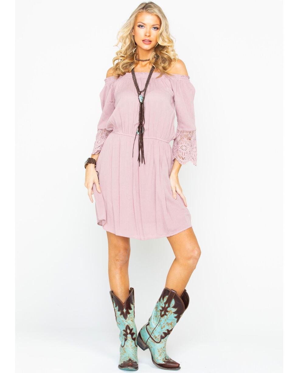 Panhandle Women's Off The Shoulder Lace Sleeve Dress , Mauve, hi-res