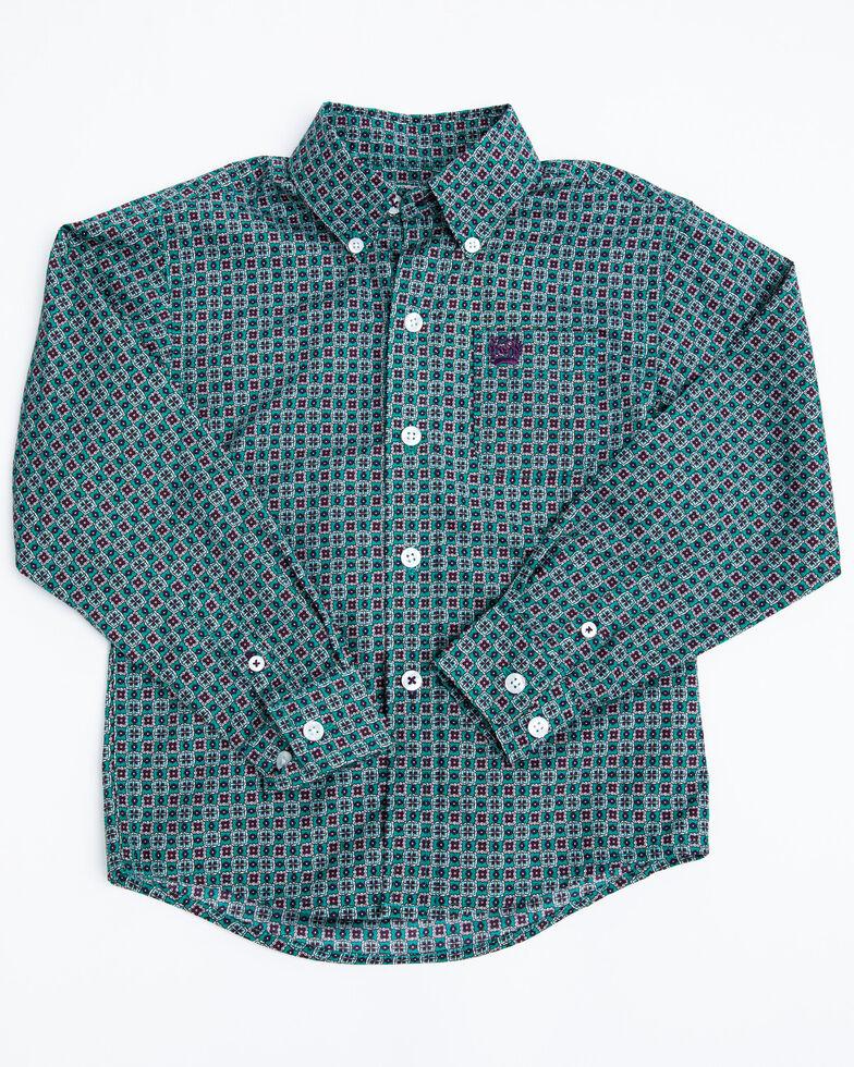 Cinch Toddler Boys' Green Geo Print Button Long Sleeve Western Shirt , Green, hi-res