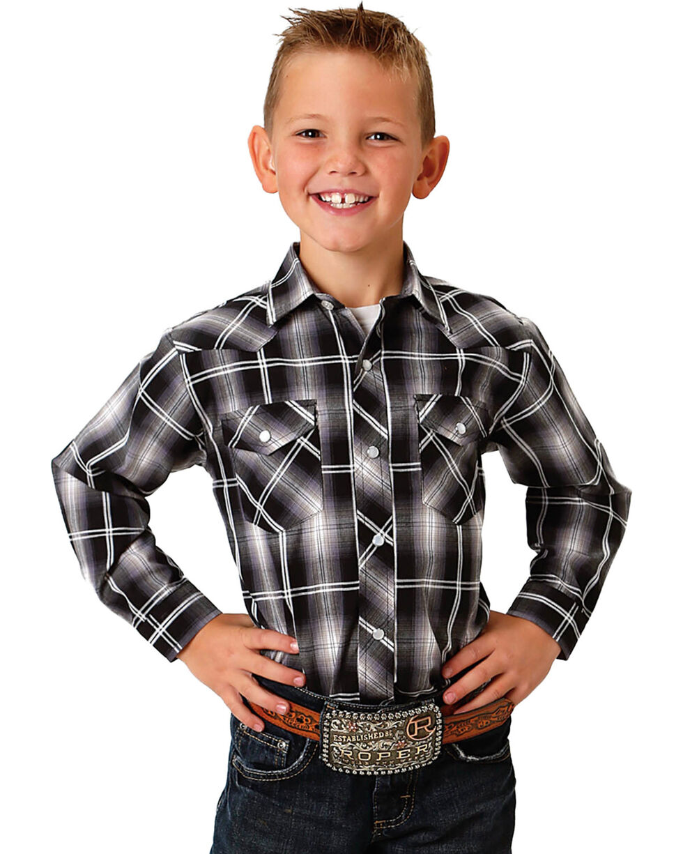 Roper Boys' Black Ombre Plaid Western Shirt , Black, hi-res