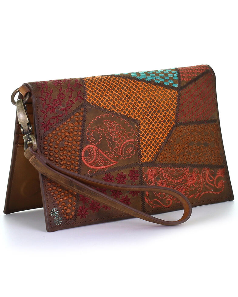 Corral Women's Multicolor Embroidery Studs Wallet, Brown, hi-res