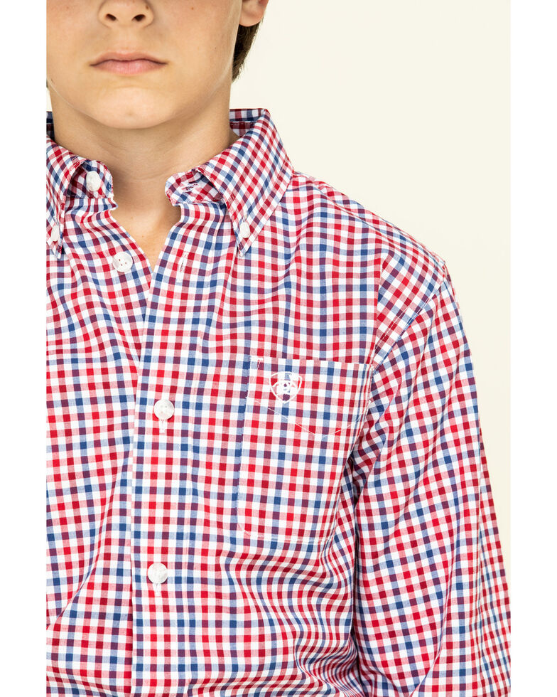 Ariat Boys' Tolland Check Plaid Long Sleeve Western Shirt , Red, hi-res