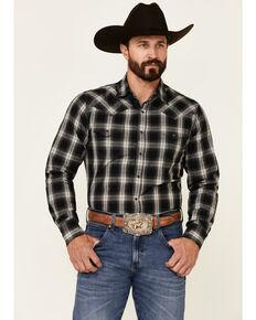Wrangler Retro Premium Men's Black Large Plaid Long Sleeve Snap Western Shirt , Black, hi-res