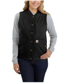 Carhartt Women's Black Rugged Flex Canvas Rib Collar Vest , Black, hi-res