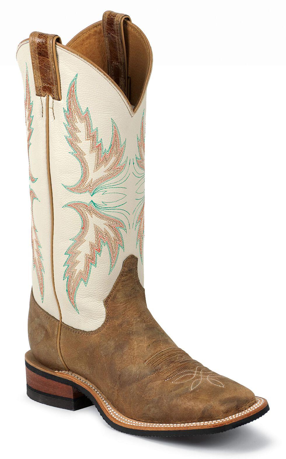 "Justin Bent Rail Women's 13"" Uvalde Ivory Cowgirl Boots - Square Toe, Tan, hi-res"