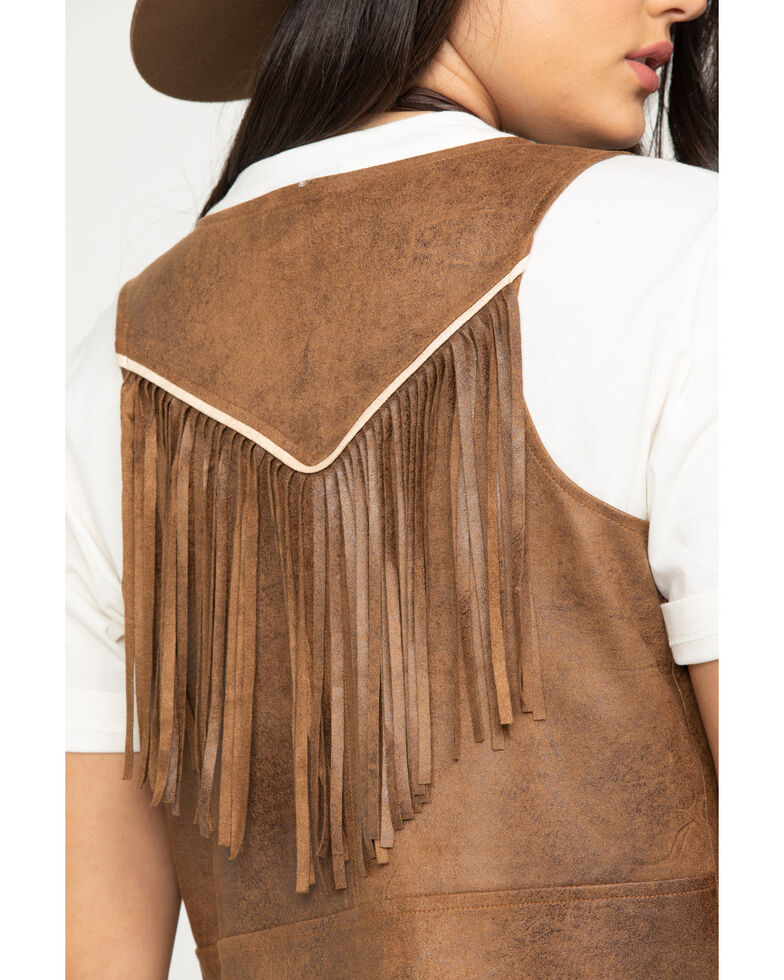 Shyanne Women's Faux Suede Fringe Vest, Brown, hi-res