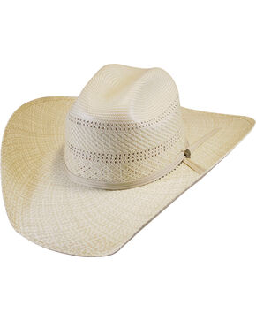 Justin Men's Ivory Bent Rail Banks Straw Cowboy Hat , Ivory, hi-res