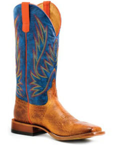 Horse Power Men's Blue Jean Baby Western Boots - Square Toe, Tan, hi-res
