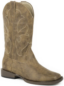 Roper Boys' Tan Tumbled Faux Leather Cowboy Boots - Square Toe , Tan, hi-res