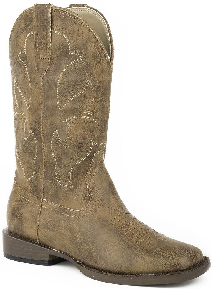 Roper Boys' Tan Tumbled Faux Leather Cowboy Boots - Square Toe , Tan, hi-res