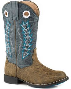Roper Boys' Hole In The Wall Blue Embroidered Cowboy Boots - Round Toe, Blue, hi-res