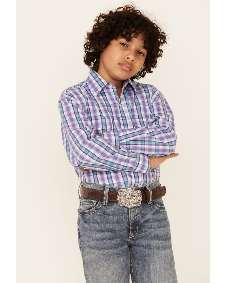 Panhandle Select Boys' Violet Check Plaid Long Sleeve Snap Western Shirt , Violet, hi-res