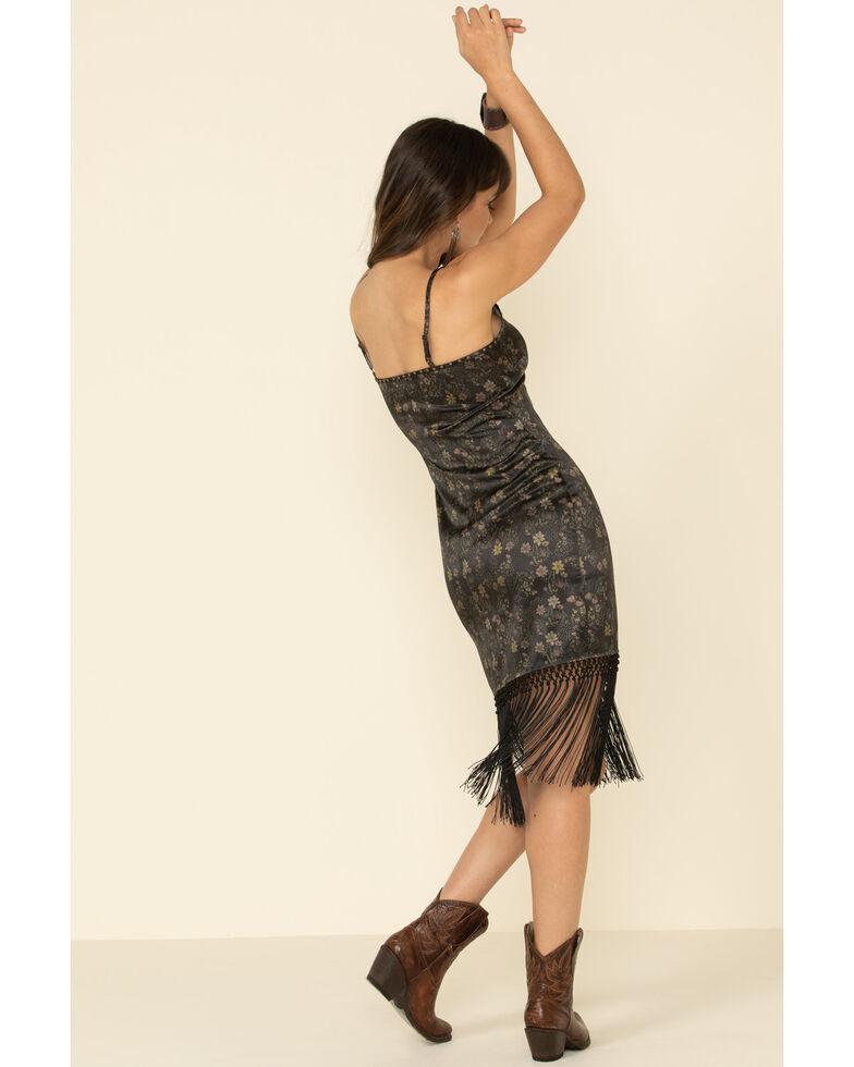 Idyllwind Women's Floral Shimmy Shake Fringe Dress, Black, hi-res