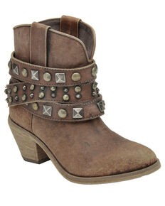 Corral Women's Distressed Cognac Studded Booties - Round Toe, Cognac, hi-res