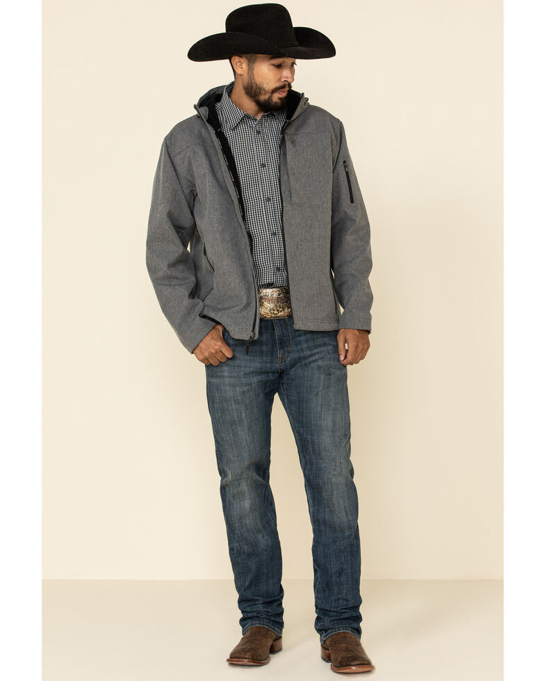 Ariat Men's Charcoal Vernon Hooded Softshell Jacket , Charcoal, hi-res