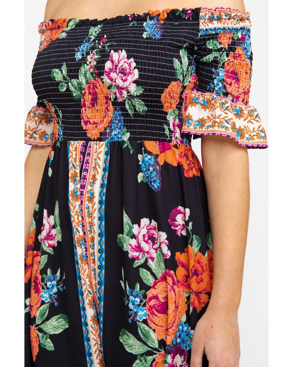 Flying Tomato Women's Floral Smocked Off Shoulder Dress , Black, hi-res