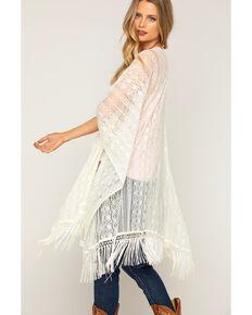 Shyanne Women's Lace Fringe Kimono Scarf, Cream, hi-res