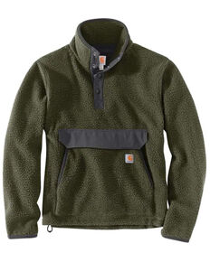 Carhartt Men's Heather Basil Relaxed Fit 1/4 Snap Fleece Work Pullover , Olive, hi-res