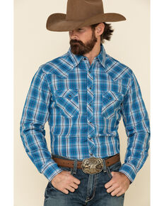 Wrangler Men's Fashion Snap Blue Plaid Long Sleeve Western Shirt , Blue, hi-res