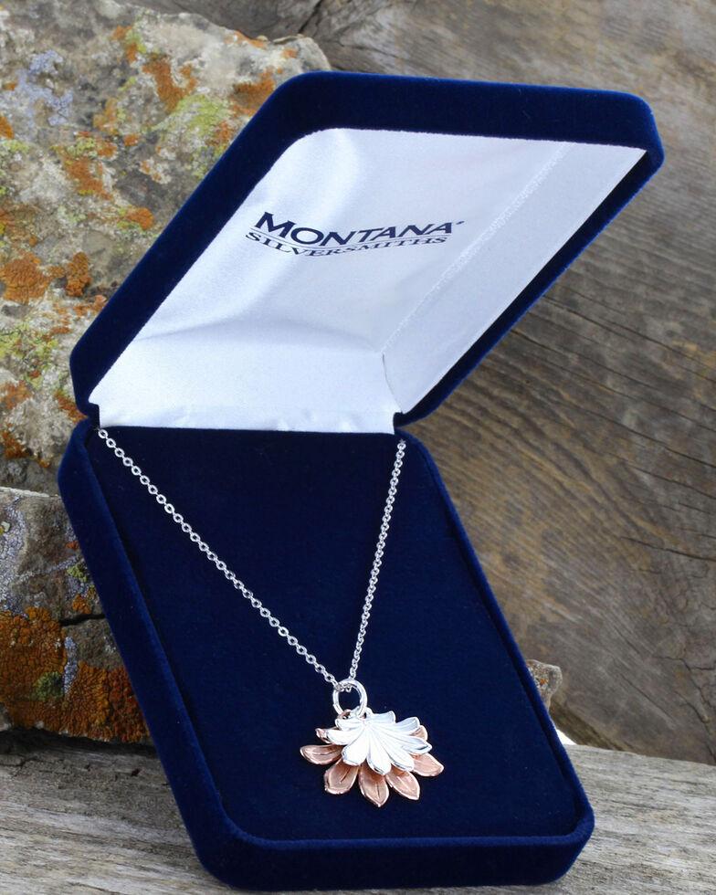 Montana Silversmiths Women's Bitterroot Two Tone Flower Fan Necklace , Silver, hi-res