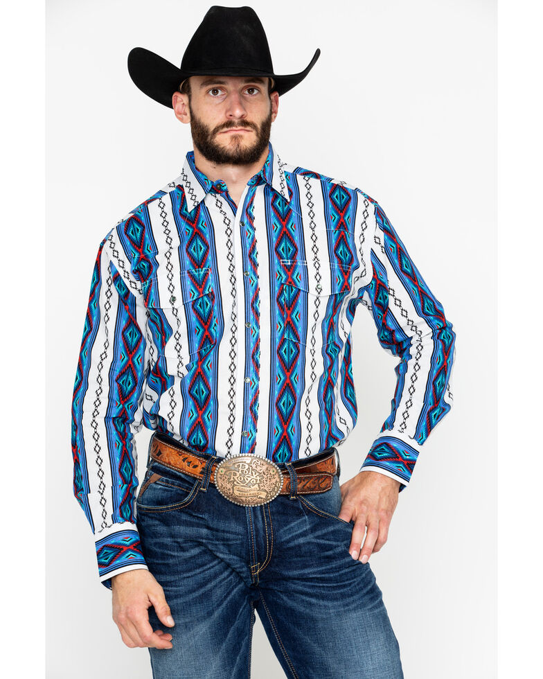 Wrangler Men's Grey Checotah Aztec Print Long Sleeve Western Shirt , Blue, hi-res