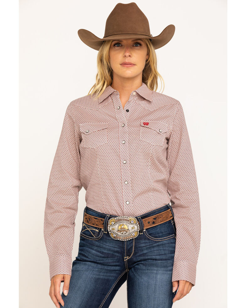 Cinch Women's Red & White Diamond Print Snap Core Long Sleeve Western Shirt, Red, hi-res