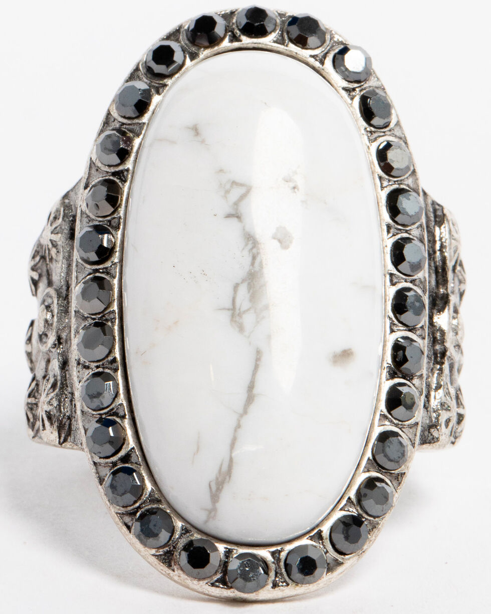 Idyllwind Women's Believe White Turquoise Statement Ring - Size 8   , Silver, hi-res