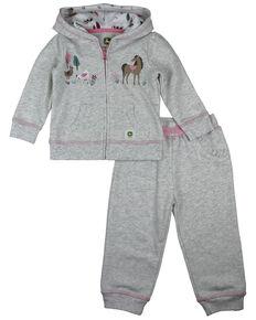 John Deere Infant Girls' Grey Farm Animal Print Sweatpant Set , Ash, hi-res