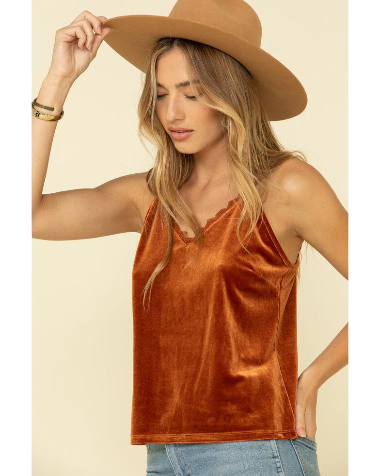 Rock & Roll Denim Women's Rust Velvet Lace Trim Cami, Rust Copper, hi-res