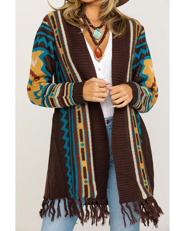 Joseph Studio Women's Aztec Fringe Cardigan, Brown, hi-res