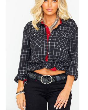 Idyllwind Women's Not So Boyfriend Western Flannel Top, Black/white, hi-res