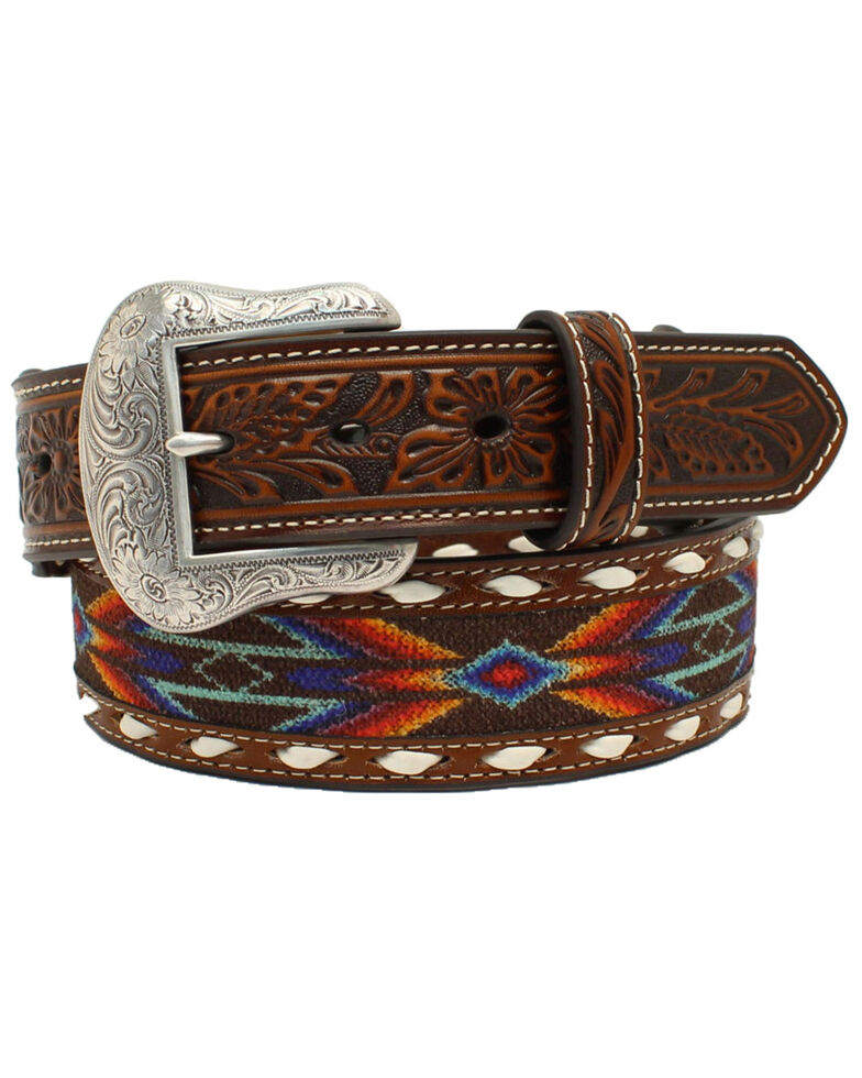 Nocona Men's Aztec Buck Laced Ribbon Inlay Western Belt, Multi, hi-res