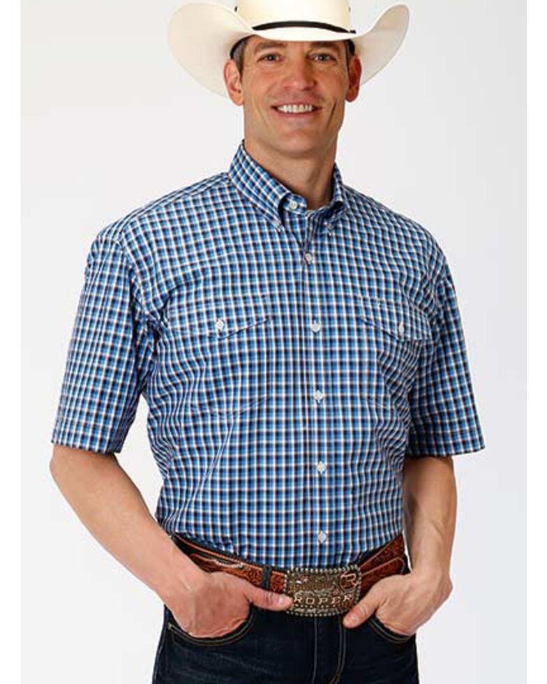 Amarillo Men's Americana Check Plaid Short Sleeve Western Shirt , Blue, hi-res