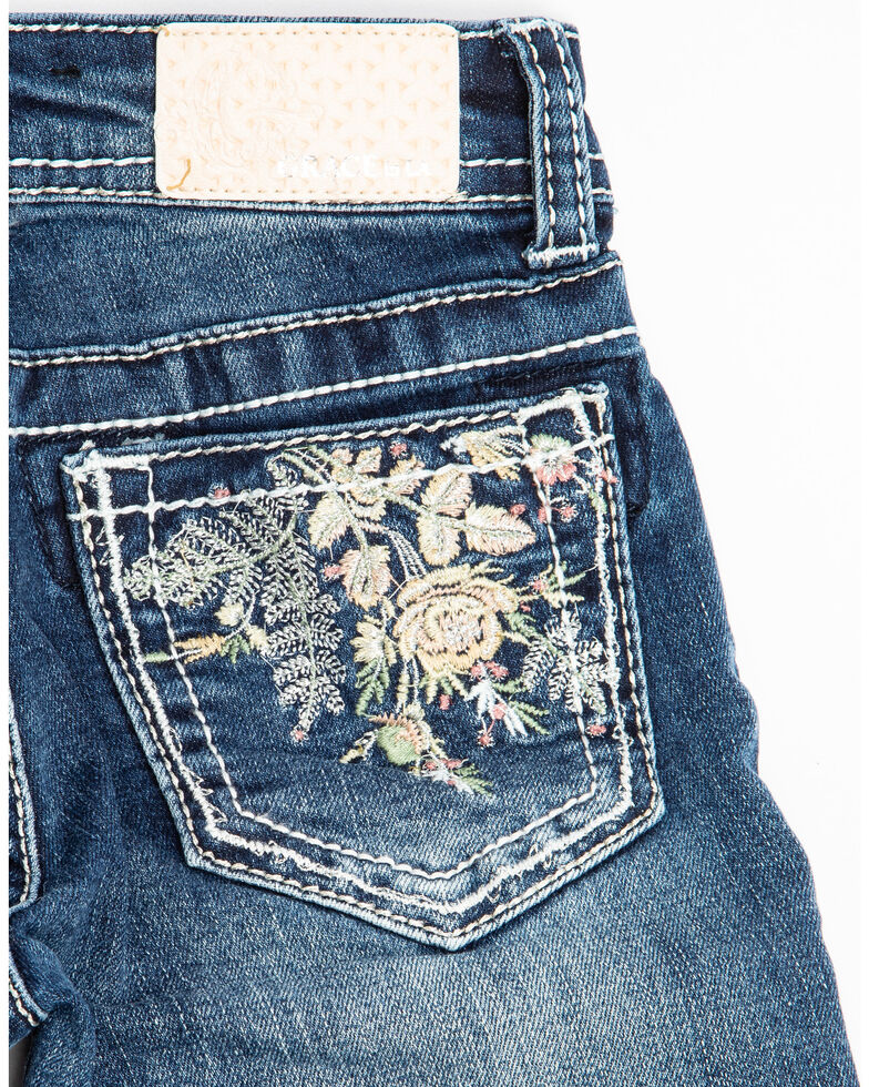Grace in LA Toddler Girls' Dark Wash Floral Pocket Bootcut Jeans, Blue, hi-res