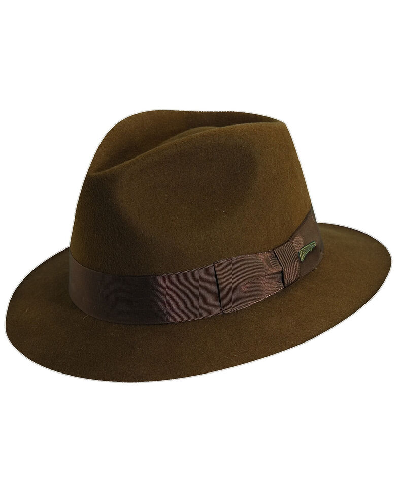Indiana Jones Pinch Front Wool Felt Fedora Hat, Brown, hi-res