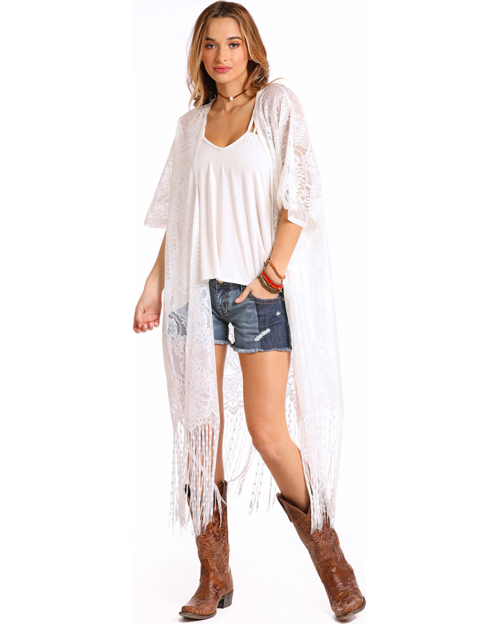 Panhandle Women's White Lace Fringe Kimono Duster, White, hi-res