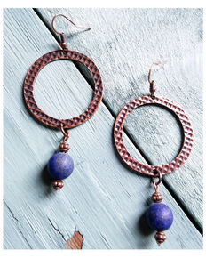 Jewelry Junkie Women's Frosted Blue Lapis Drop Earrings, Blue, hi-res