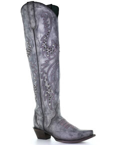 Corral Women's White Embroidery & Studs Western Boots - Snip Toe, White, hi-res