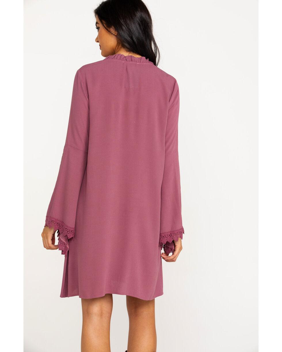 Ariat Women's Solid Ruffle Neck Flora Long Sleeve Dress , Medium Purple, hi-res